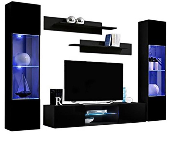 Meble Furniture Fly A 33TV Black Wall Mounted Floating AB3 Entertainment Centers MBL-FLYAB3-33-ENT-S-VAR