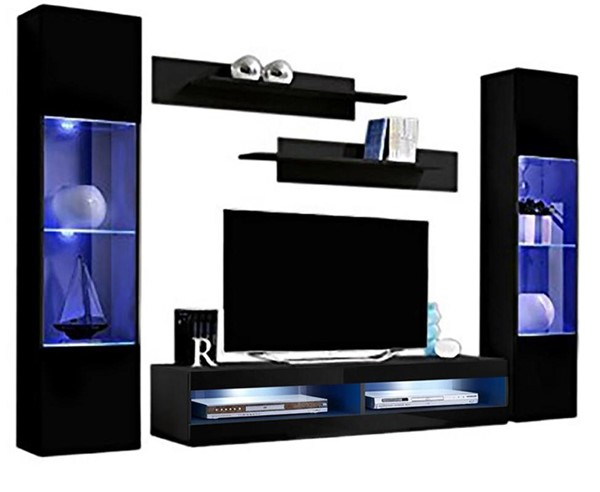Meble Furniture Fly A 34TV Black Wall Mounted Floating AB3 Entertainment Centers MBL-FLYAB3-34-ENT-S-VAR