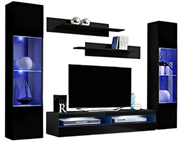Meble Furniture Fly A 35TV Black Wall Mounted Floating AB3 Entertainment Centers MBL-FLYAB3-35-ENT-S-VAR