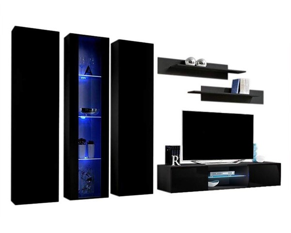 Meble Furniture Fly C 33TV  Black Wall Mounted Floating C4 Entertainment Centers MBL-FLYC4-33-ENT-S-VAR