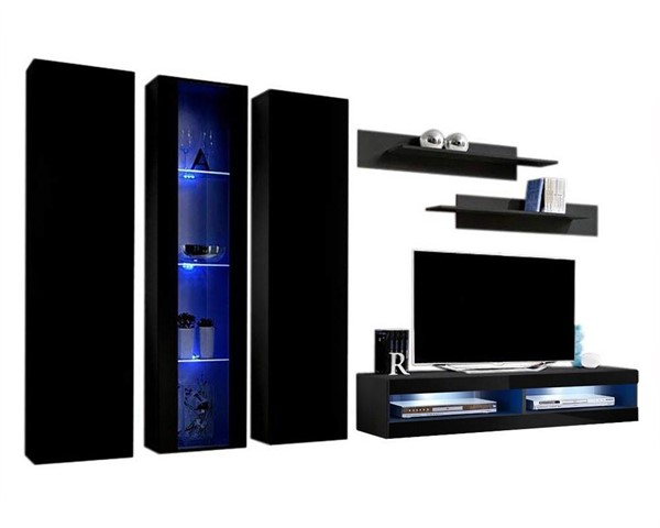 Meble Furniture Fly C 34TV  Black Wall Mounted Floating C4 Entertainment Centers MBL-FLYC4-34-ENT-S-VAR