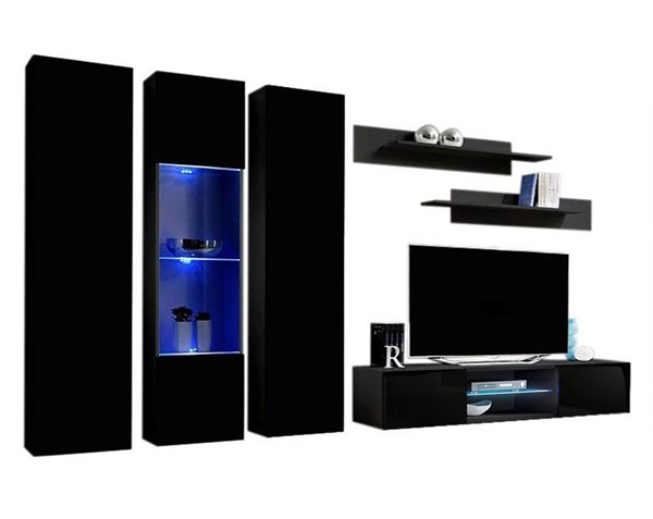 Meble Furniture Fly C 33TV  Black Wall Mounted Floating C5 Entertainment Centers MBL-FLYC5-33-ENT-S-VAR