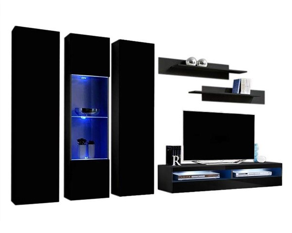 Meble Furniture Fly C 35TV  Black Wall Mounted Floating C5 Entertainment Centers MBL-FLYC5-35-ENT-S-VAR