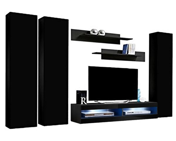Meble Furniture Fly C 34TV  Black Wall Mounted Floating CD1 Entertainment Centers MBL-FLYCD1-34-ENT-S-VAR