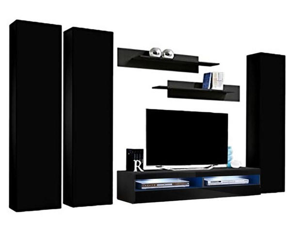 Meble Furniture Fly C 35TV  Black Wall Mounted Floating CD1 Entertainment Centers MBL-FLYCD1-35-ENT-S-VAR