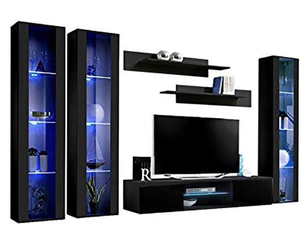 Meble Furniture Fly C 33TV  Black Wall Mounted Floating CD2 Entertainment Centers MBL-FLYCD2-33-ENT-S-VAR