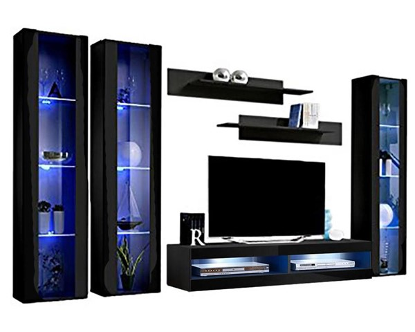 Meble Furniture Fly C 34TV  Black Wall Mounted Floating CD2 Entertainment Centers MBL-FLYCD2-34-ENT-S-VAR