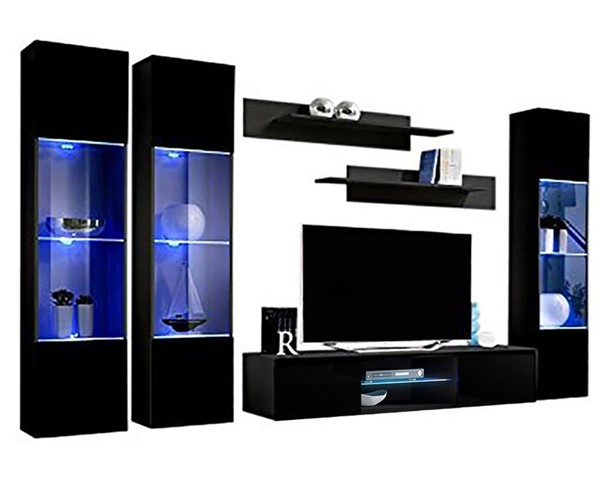 Meble Furniture Fly C 33TV  Black Wall Mounted Floating CD3 Entertainment Centers MBL-FLYCD3-33-ENT-S-VAR