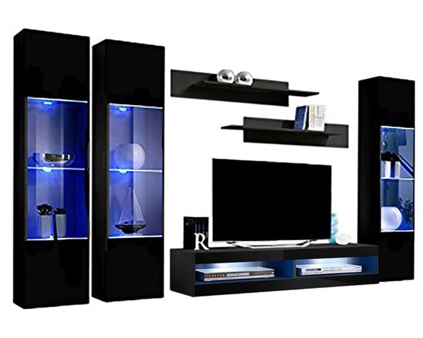 Meble Furniture Fly C 34TV  Black Wall Mounted Floating CD3 Entertainment Centers MBL-FLYCD3-34-ENT-S-VAR