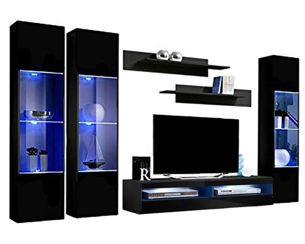 Meble Furniture Fly C 35TV  Black Wall Mounted Floating CD3 Entertainment Centers MBL-FLYCD3-35-ENT-S-VAR
