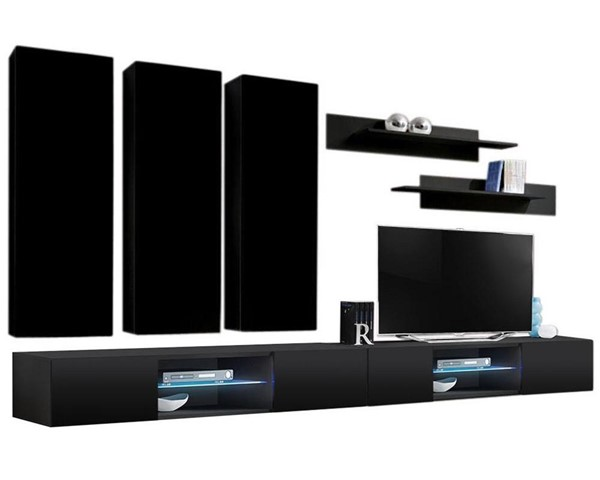 Meble Furniture Fly E 33TV Black Wall Mounted Floating E1 Entertainment Centers MBL-FLYE1-33-ENT-S-VAR