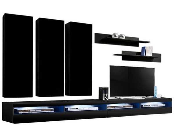 Meble Furniture Fly E 35TV Black Wall Mounted Floating E1 Entertainment Centers MBL-FLYE1-35-ENT-S-VAR