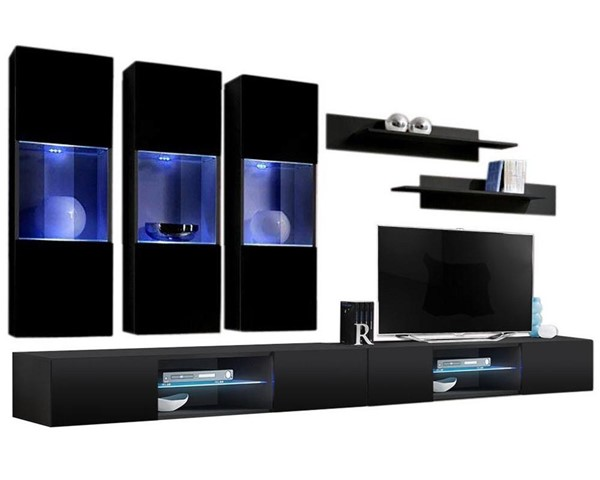 Meble Furniture Fly E 33TV Black Wall Mounted Floating E2 Entertainment Centers MBL-FLYE2-33-ENT-S-VAR