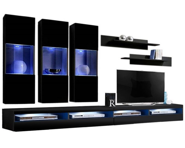 Meble Furniture Fly E 35TV Black Wall Mounted Floating E2 Entertainment Centers MBL-FLYE2-35-ENT-S-VAR