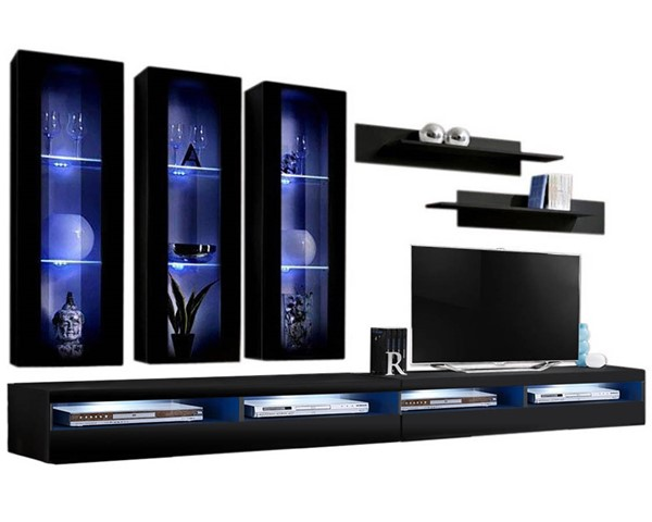 Meble Furniture Fly E 35TV Black Wall Mounted Floating E3 Entertainment Centers MBL-FLYE3-35-ENT-S-VAR