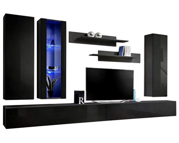 Meble Furniture Fly E 30TV Black Wall Mounted Floating EF4 Entertainment Centers MBL-FLYEF4-30-ENT-S-VAR
