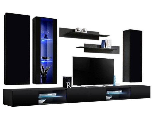 Meble Furniture Fly E 33TV Black Wall Mounted Floating EF4 Entertainment Centers MBL-FLYEF4-33-ENT-S-VAR