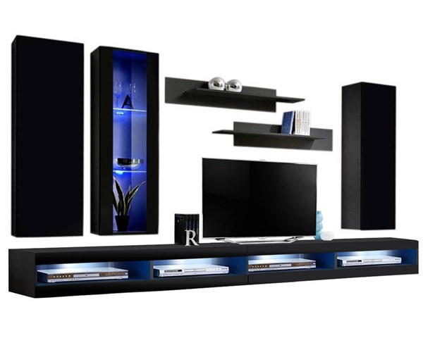 Meble Furniture Fly E 34TV Black Wall Mounted Floating EF4 Entertainment Centers MBL-FLYEF4-34-ENT-S-VAR