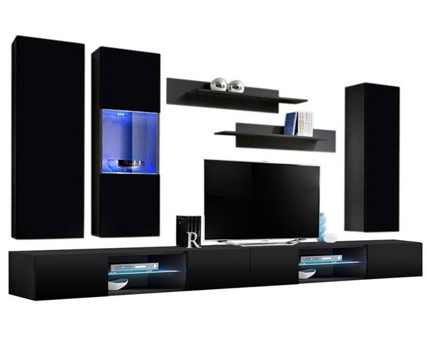 Meble Furniture Fly E 33TV Black Wall Mounted Floating EF5 Entertainment Centers MBL-FLYEF5-33-ENT-S-VAR