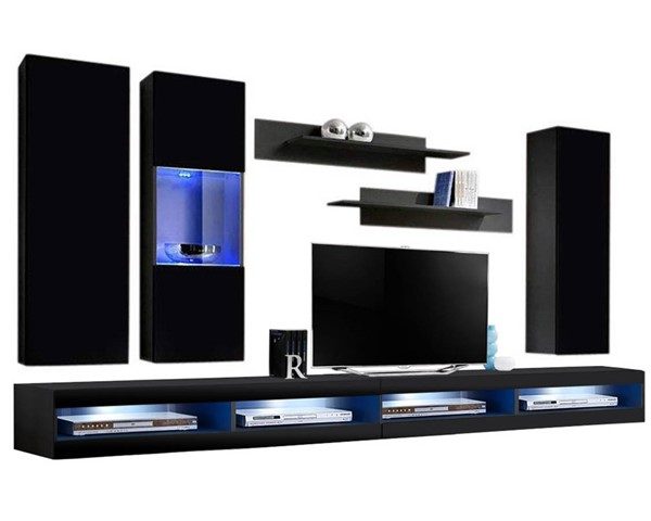 Meble Furniture Fly E 34TV Black Wall Mounted Floating EF5 Entertainment Centers MBL-FLYEF5-34-ENT-S-VAR