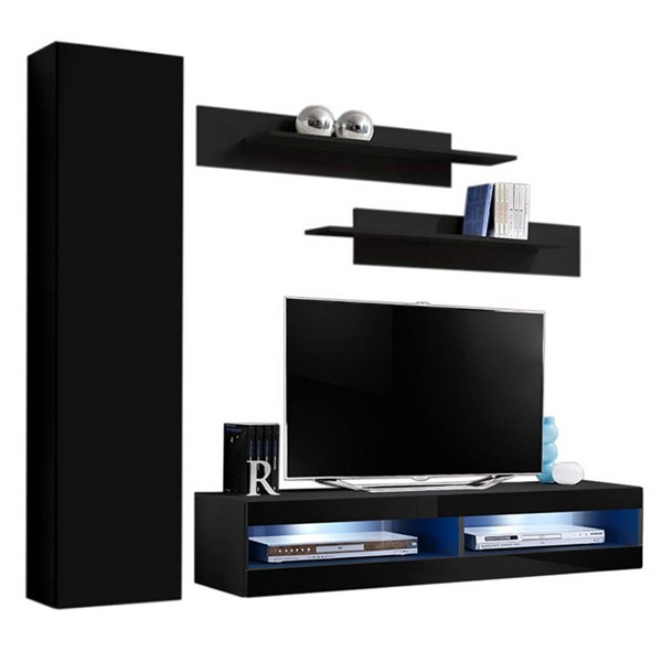 Meble Furniture Fly G 34TV Black Wall Mounted Floating G1 Entertainment Centers MBL-FLYG1-34-ENT-S-VAR