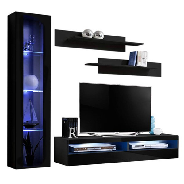 Meble Furniture Fly G 35TV Black Wall Mounted Floating G2 Entertainment Centers MBL-FLYG2-35-ENT-S-VAR