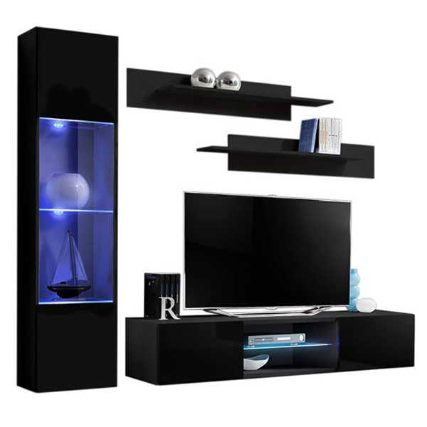Meble Furniture Fly G 33TV Black Wall Mounted Floating G3 Entertainment Centers MBL-FLYG3-33-ENT-S-VAR