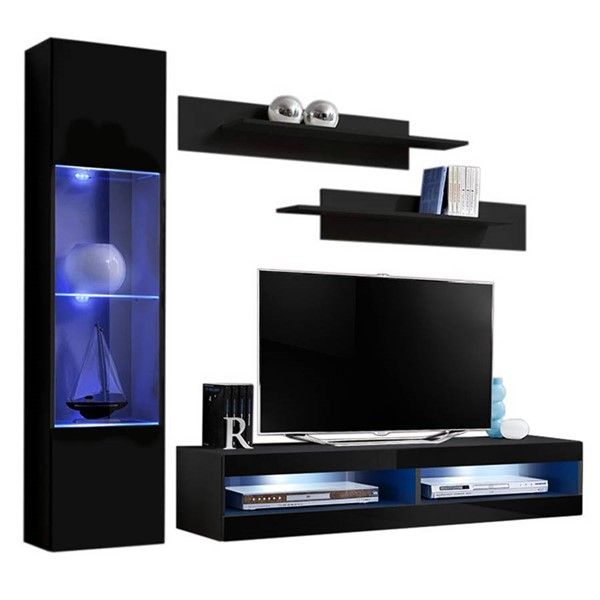 Meble Furniture Fly G 34TV Black Wall Mounted Floating G3 Entertainment Centers MBL-FLYG3-34-ENT-S-VAR