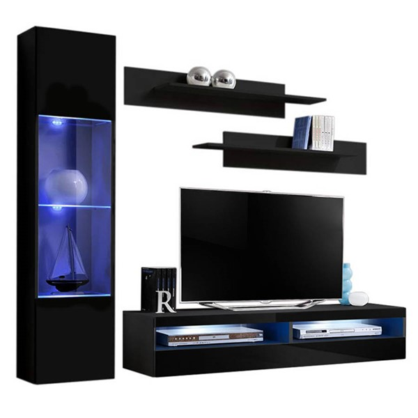 Meble Furniture Fly G 35TV Black Wall Mounted Floating G3 Entertainment Centers MBL-FLYG3-35-ENT-S-VAR