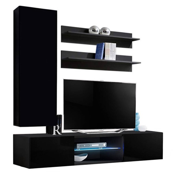 Meble Furniture Fly H 33TV Black Wall Mounted Floating H1 Entertainment Centers MBL-FLYH1-33-ENT-S-VAR