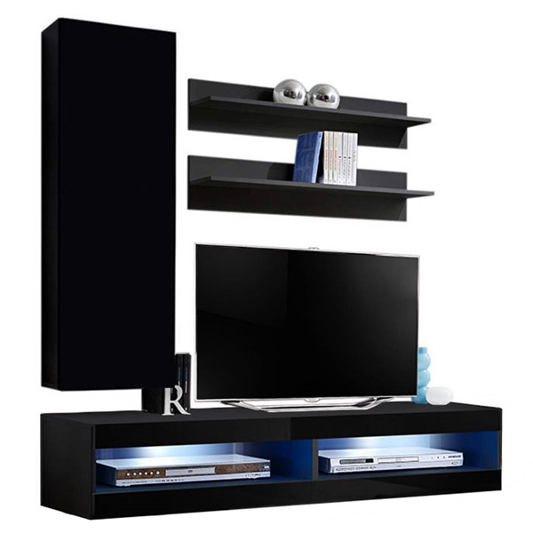 Meble Furniture Fly H 34TV Black Wall Mounted Floating H1 Entertainment Centers MBL-FLYH1-34-ENT-S-VAR