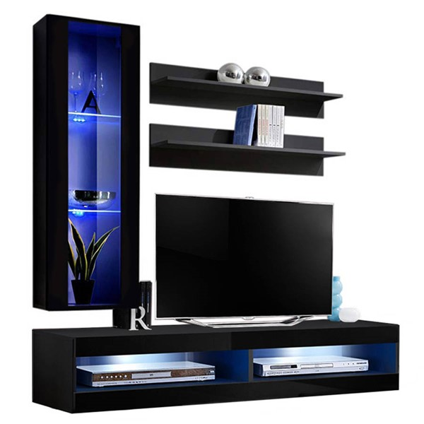 Meble Furniture Fly H 34TV Black Wall Mounted Floating H2 Entertainment Centers MBL-FLYH2-34-ENT-S-VAR