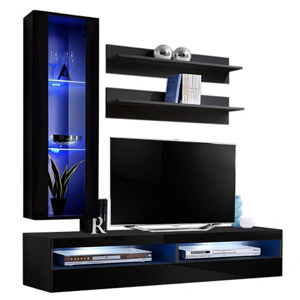Meble Furniture Fly H 35TV Black Wall Mounted Floating H2 Entertainment Centers MBL-FLYH2-35-ENT-S-VAR