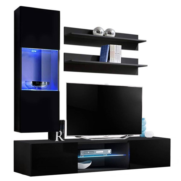 Meble Furniture Fly H 33TV Black Wall Mounted Floating H3 Entertainment Centers MBL-FLYH3-33-ENT-S-VAR