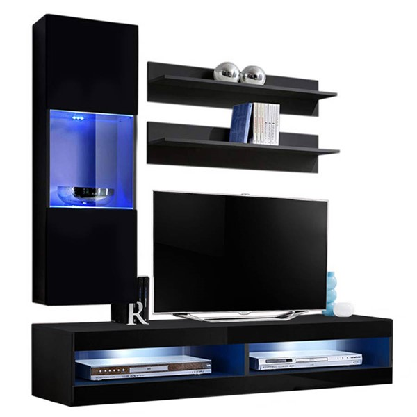 Meble Furniture Fly H 34TV Black Wall Mounted Floating H3 Entertainment Centers MBL-FLYH3-34-ENT-S-VAR