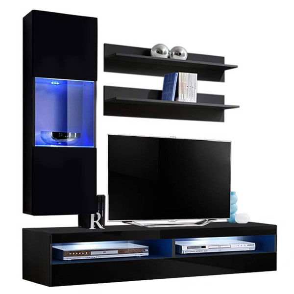 Meble Furniture Fly H 35TV Black Wall Mounted Floating H3 Entertainment Centers MBL-FLYH3-35-ENT-S-VAR