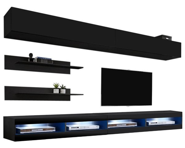 Meble Furniture Fly I 34TV Black Wall Mounted Floating I1 Entertainment Centers MBL-FLYI1-34-ENT-S-VAR