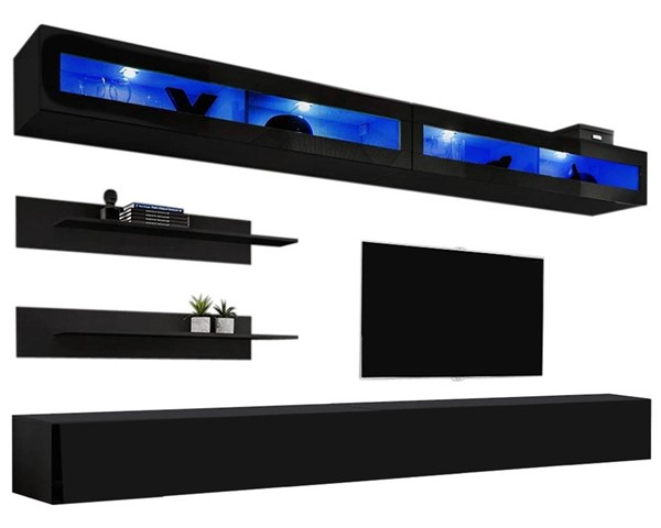Meble Furniture Fly I 30TV Black Wall Mounted Floating I2 Entertainment Centers MBL-FLYI2-30-ENT-S-VAR