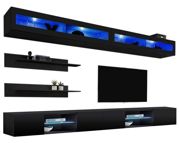 Meble Furniture Fly I 33TV Black Wall Mounted Floating I2 Entertainment Centers MBL-FLYI2-33-ENT-S-VAR