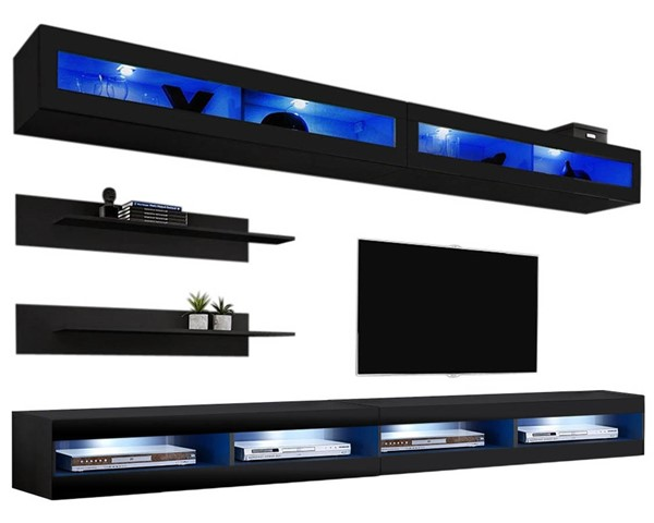Meble Furniture Fly I 34TV Black Wall Mounted Floating I2 Entertainment Centers MBL-FLYI2-34-ENT-S-VAR
