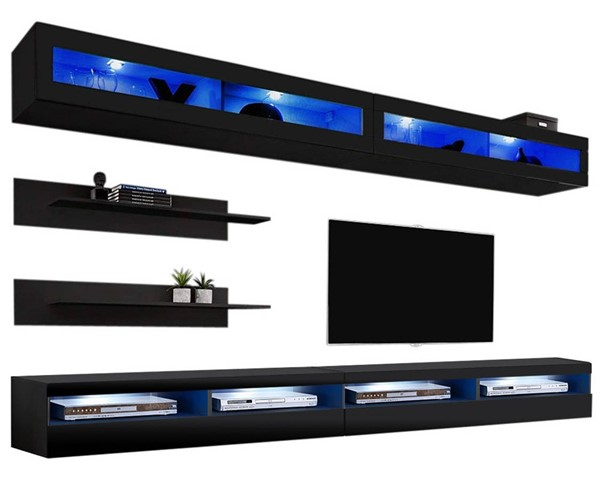 Meble Furniture Fly I 35TV Black Wall Mounted Floating I2 Entertainment Centers MBL-FLYI2-35-ENT-S-VAR