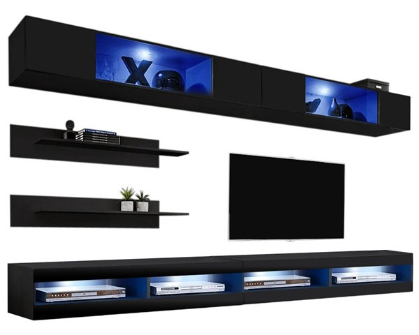 Meble Furniture Fly I 34TV Black Wall Mounted Floating I3 Entertainment Centers MBL-FLYI3-34-ENT-S-VAR