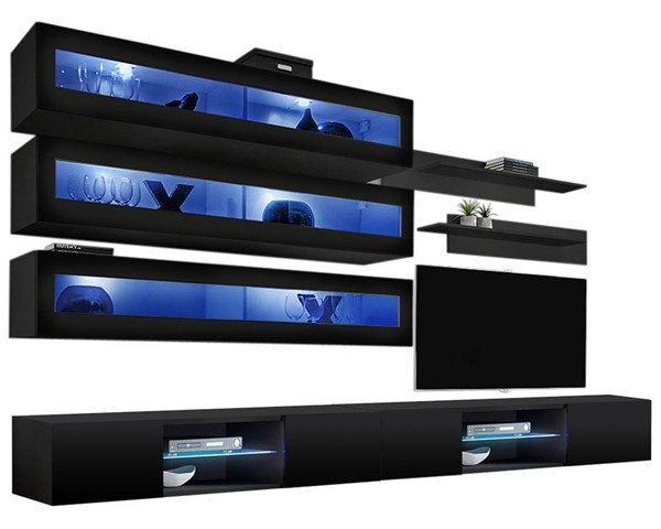 Meble Furniture Fly J 33TV Black Wall Mounted Floating J2 Entertainment Centers MBL-FLYJ2-33-ENT-S-VAR