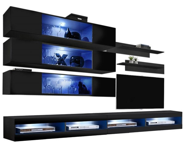 Meble Furniture Fly J 34TV Black Wall Mounted Floating J3 Entertainment Centers MBL-FLYJ3-34-ENT-S-VAR