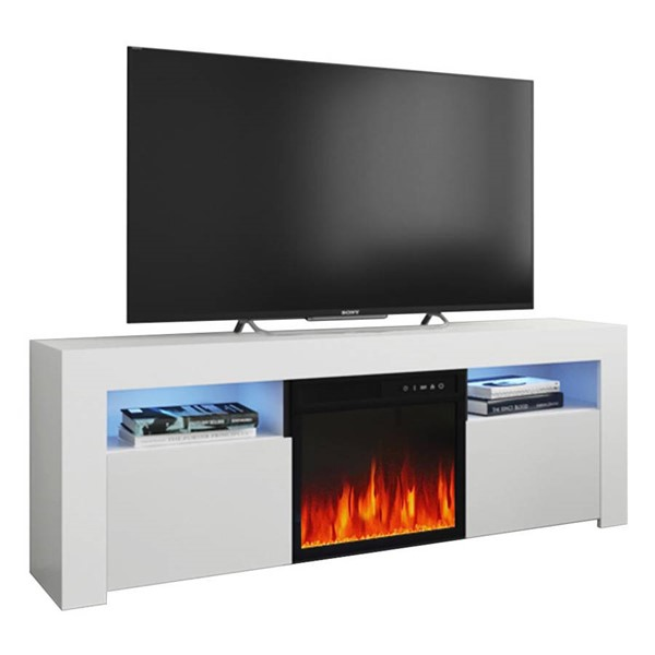 Meble Furniture Milano 145EF White Electric Fireplace 58 Inch TV Stand MBL-MILANO145EFWHITE