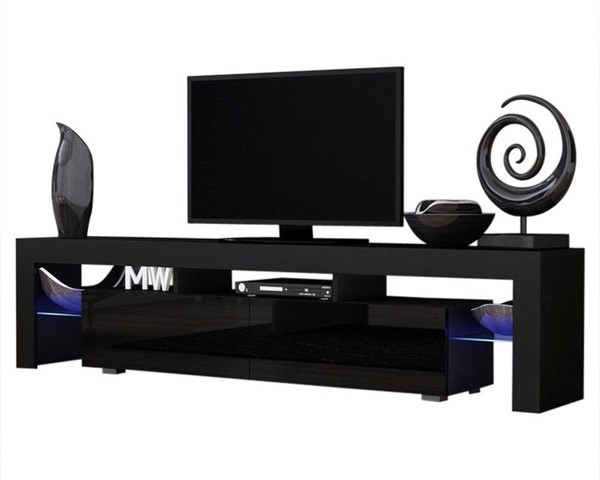 Meble Furniture Milano 200 Black 79 Inch TV Stand MBL-MILANO200BLACK