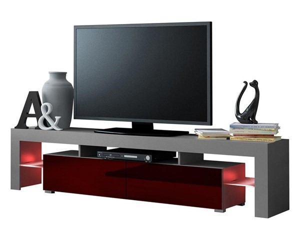 Meble Furniture Milano 200 Gray Burgundy 79 Inch TV Stand MBL-MILANO200GRAYBURGUNDY