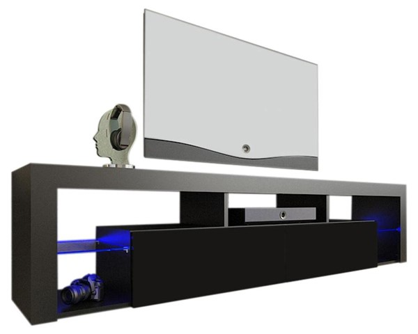 Meble Furniture Milano 200 Black Wall Mounted Floating 79 Inch TV Stands MBL-MILANO200WALLMOUNTED-TV-VAR