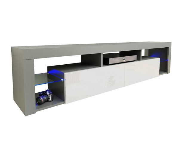 Meble Furniture Milano 200 Gray White Wall Mounted Floating 79 Inch TV Stand MBL-MILANO200WALLMOUNTEDGRAYWHITE