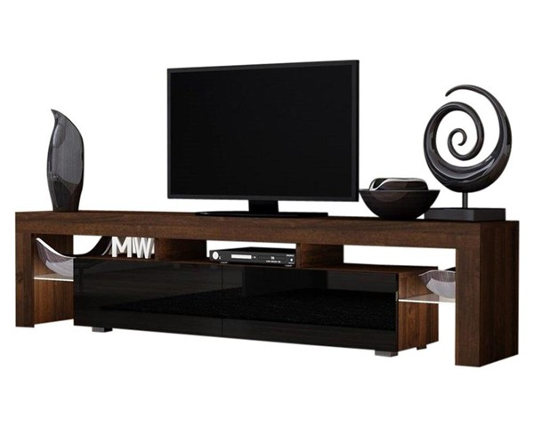 Meble Furniture Milano 200 Walnut Black 79 Inch TV Stand MBL-MILANO200WALNUTBLACK
